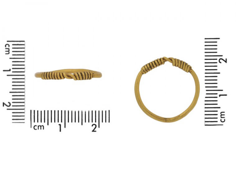 siz eview Gold Viking band ring, circa 9th 11th century.