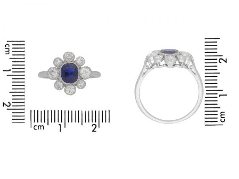 siz eview Sapphire and diamond cluster, circa 1920.