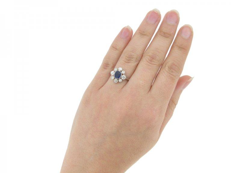 hand veiw Sapphire and diamond cluster, circa 1920.