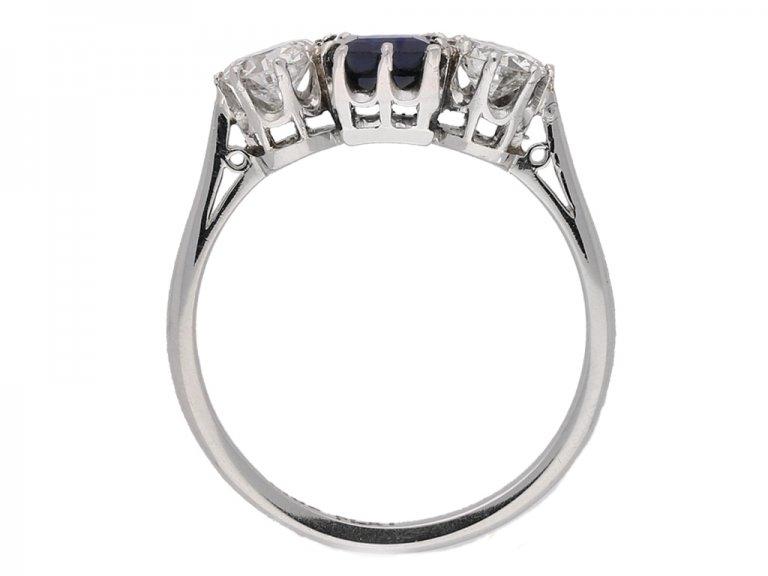 back view Sapphire and diamond three stone engagement ring, circa 1920.