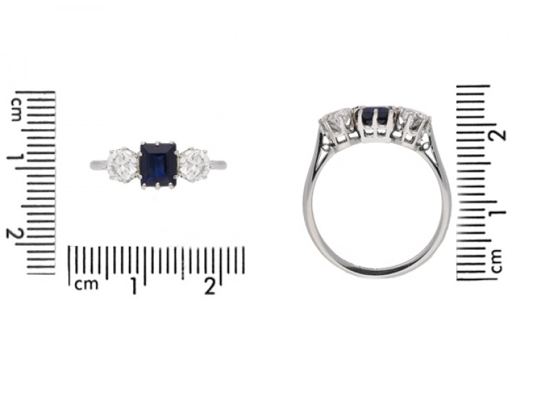 size view Sapphire and diamond three stone engagement ring, circa 1920.