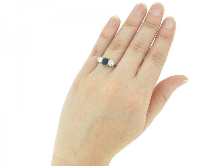 hand view Sapphire and diamond three stone engagement ring, circa 1920.