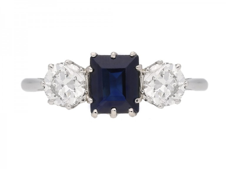 front view Sapphire and diamond three stone engagement ring, circa 1920.