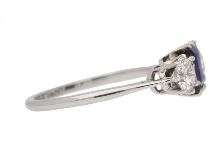 side view Sapphire and diamond three stone engagement ring, circa 1920.