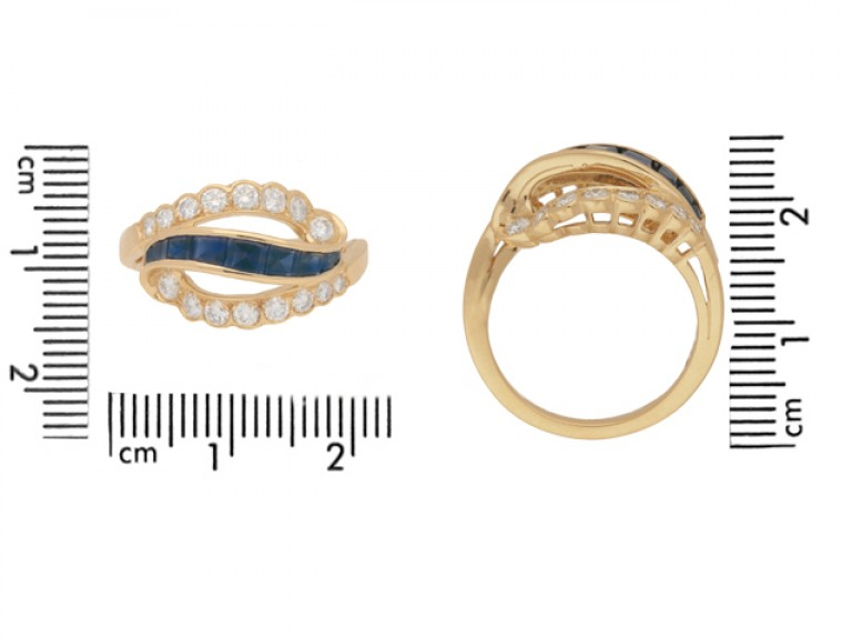 size view Vintage sapphire and diamond ring by Oscar Heyman Brothers, circa 1970.