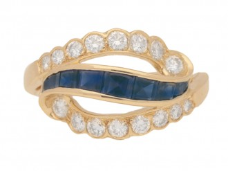 front view Vintage sapphire and diamond ring by Oscar Heyman Brothers, circa 1970.
