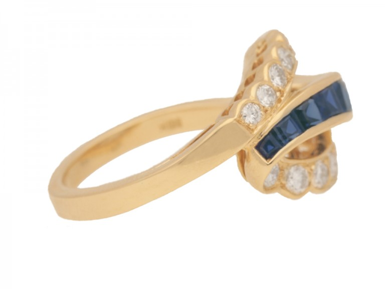 side view Vintage sapphire and diamond ring by Oscar Heyman Brothers, circa 1970.
