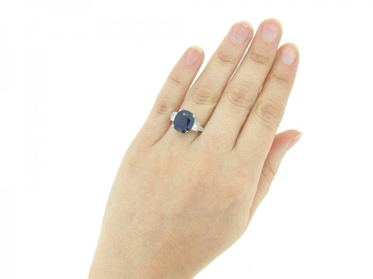 Royal Blue' Ceylon sapphire and diamond Art Deco ring, circa 1935.