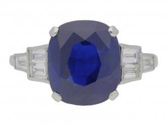 front view 'Royal Blue' Ceylon sapphire and diamond Art Deco ring, circa 1935.