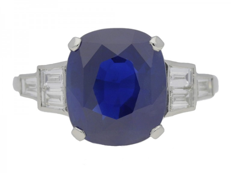 front view 'Royal Blue' Ceylon sapphire and diamond Art Deco ring, circa 1935.