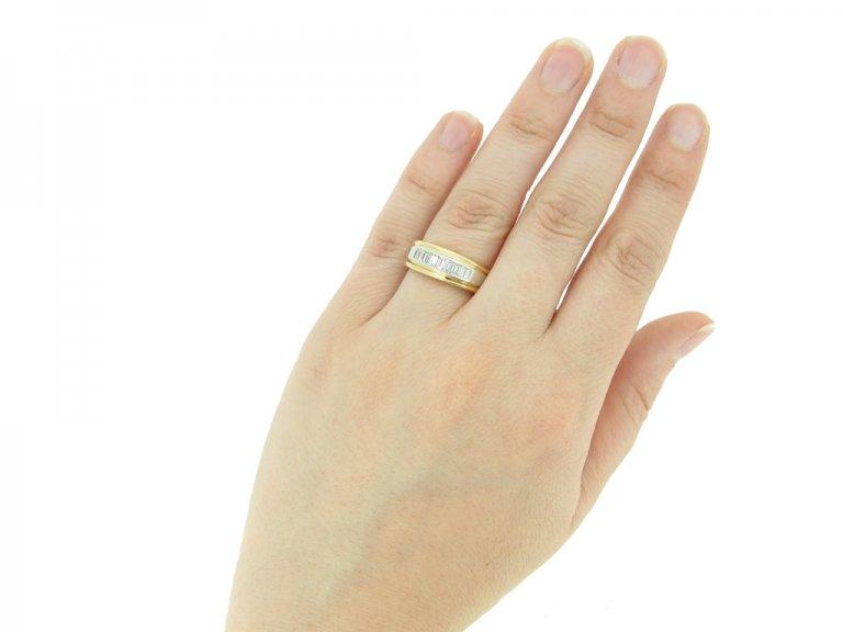 hand view Diamond baguette band ring by Oscar Heyman Bros, circa 1970.