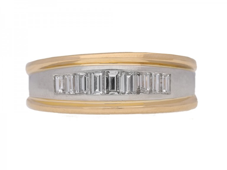 front view Diamond baguette band ring by Oscar Heyman Bros, circa 1970.