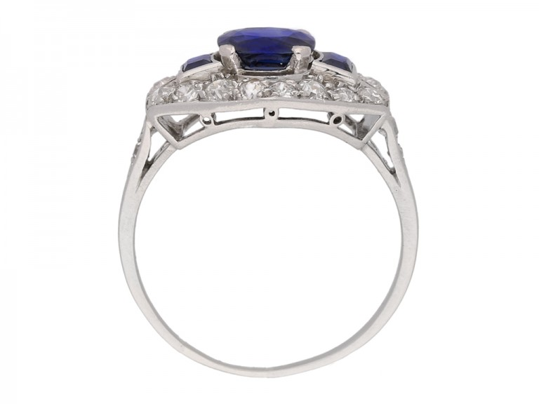 back view Art Deco sapphire and diamond ring, French, circa 1925.