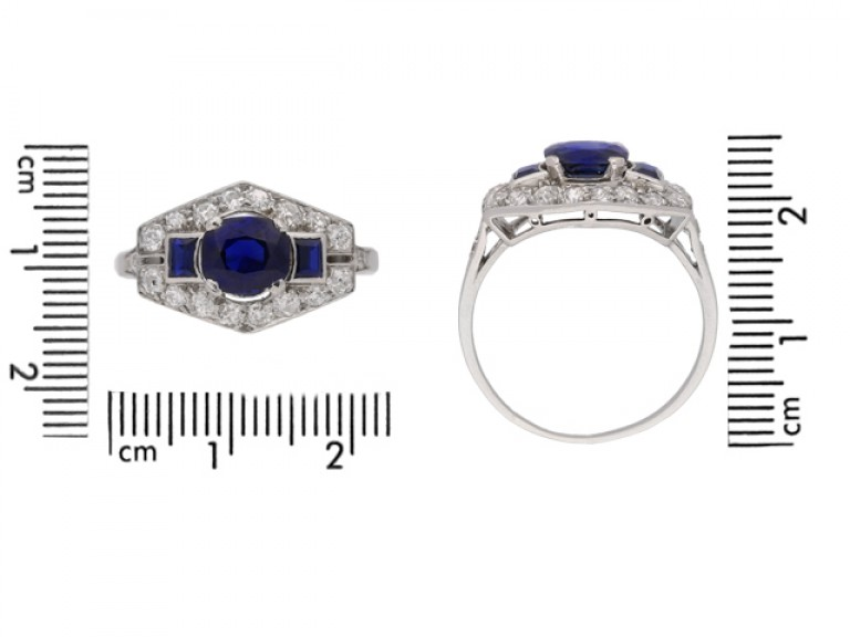 size view Art Deco sapphire and diamond ring, French, circa 1925.