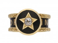 front view Victorian diamond set family memorial ring, circa 1880.