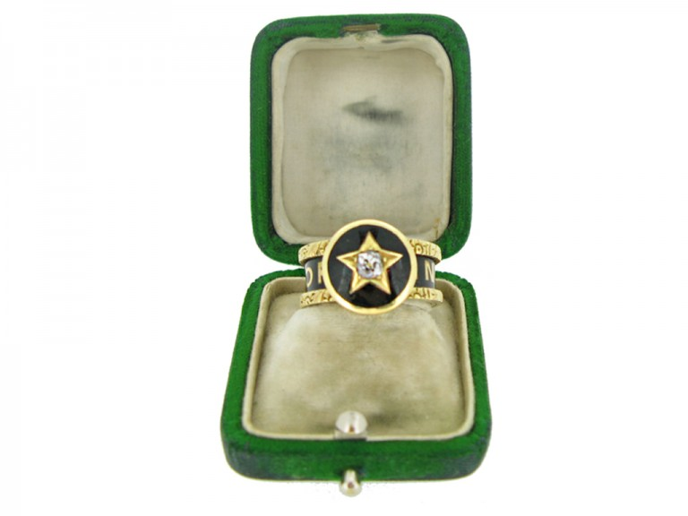 boxed view Victorian diamond set family memorial ring, circa 1880.