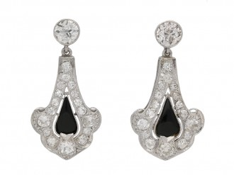 front view Art Deco onyx diamond earrings berganza hatton garden