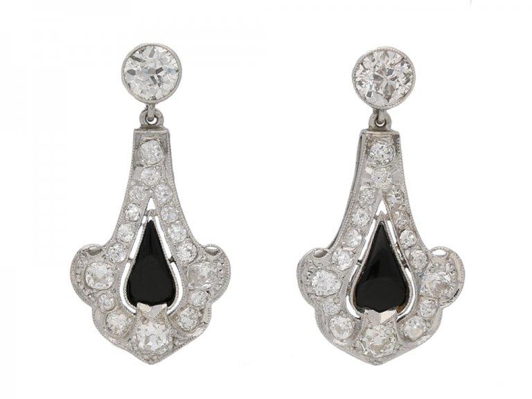 front view Art Deco onyx diamond earrings berganza hatton garden
