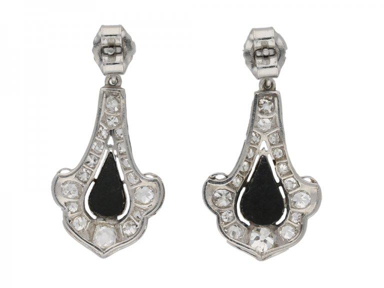 Art Deco onyx diamond earrings berganza hatton garden