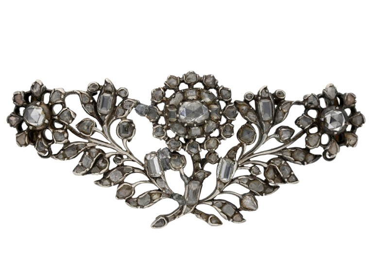 front view Georgian diamond brooch English berganza hatton garden