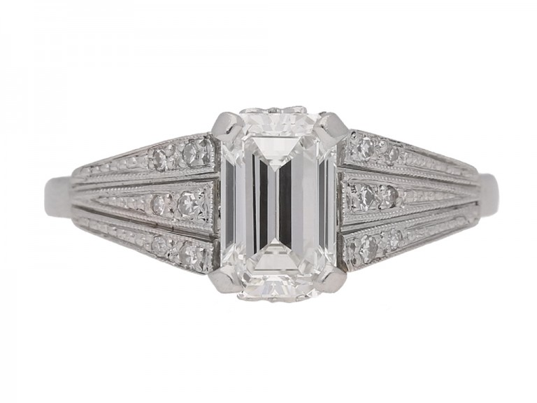 front view Art Deco emerald cut diamond ring, circa 1935.