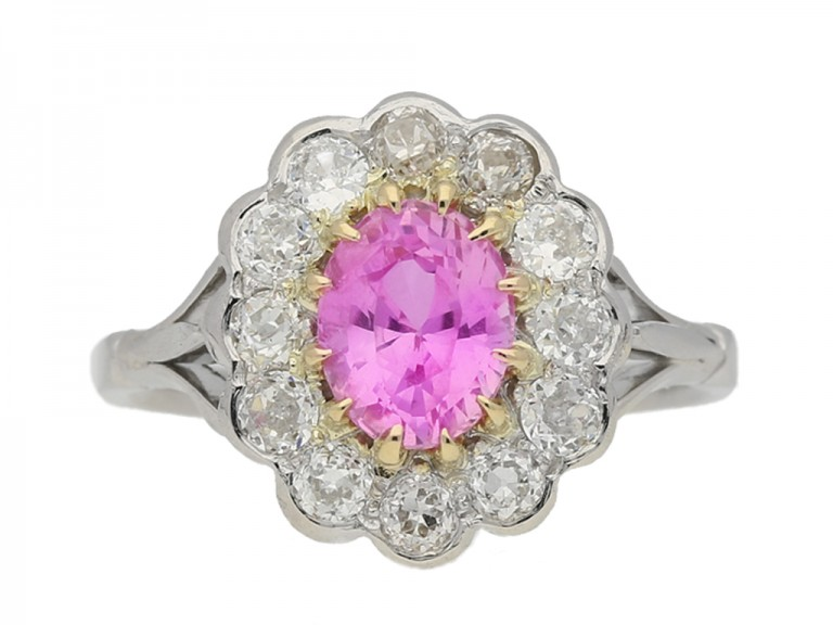 ront view antique diamond pink sapphire ring berganza hatton garden