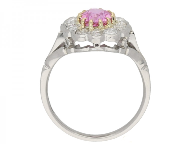 antique diamond pink sapphire ring berganza hatton garden