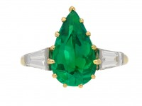 front view Vintage emerald diamond ring berganza hatton garden