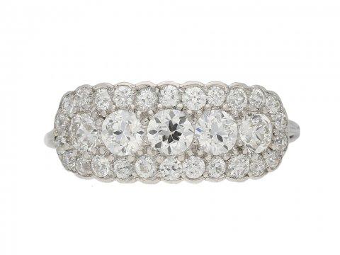 front view antique Tiffany & Co diamond ring berganza hatton garden