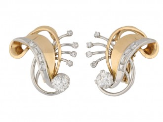 front view vintage clip diamond earrings berganza hatton garden