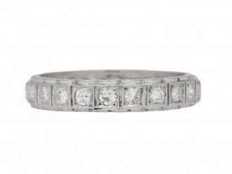 front view Diamond set eternity ring, French, circa 1950.