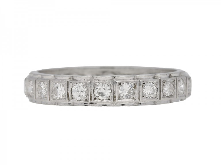 front view Diamond set eternity ring, French, circa 1950.