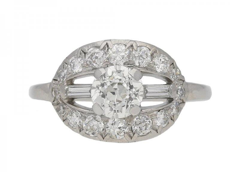 front view Fancy diamond cluste  ring, circa 1920. berganza hatton garden