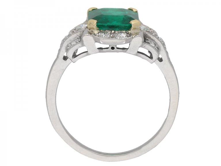 Emerald and diamond ring, English, circa 1940. berganza hatton garden