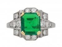 front view Emerald and diamond ring, English, circa 1940. berganza hatton garden