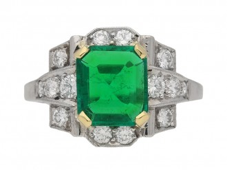 front view Emerald and diamond ring, English, circa 1940. berganza hatton garden