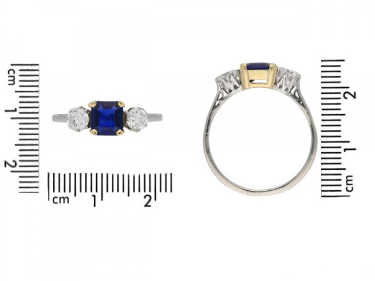 size view Sapphire and diamond three stone ring, circa 1950. berganza hatton garden