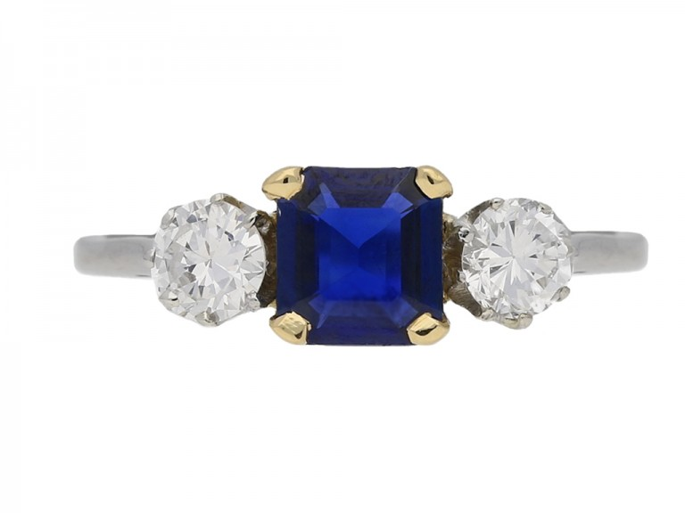 front view Sapphire and diamond three stone ring, circa 1950. berganza hatton garden