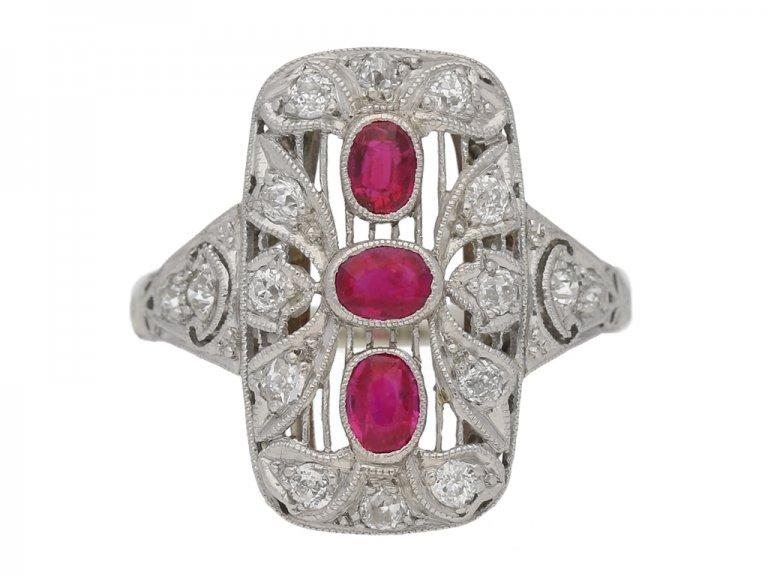 front view Antique diamond ruby ring berganza hatton garden