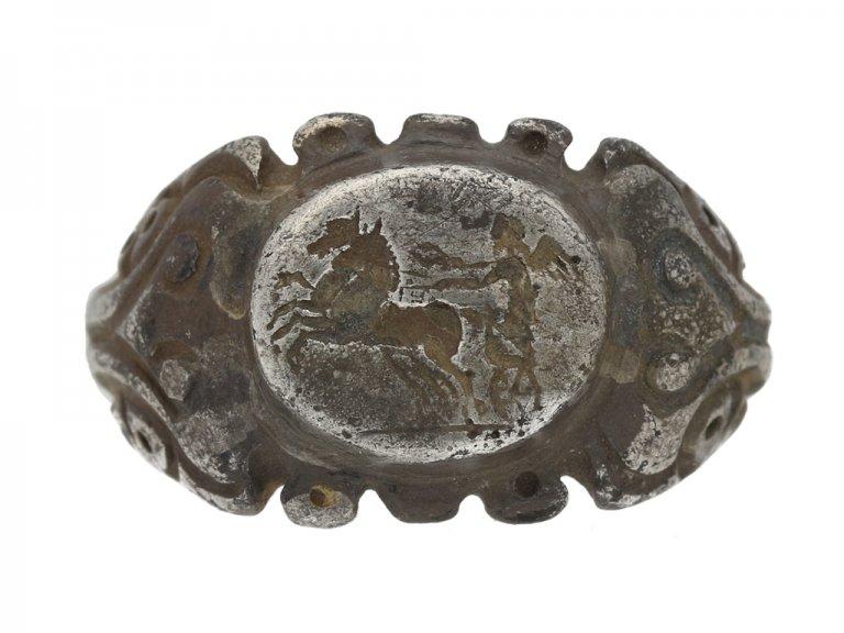 front view Roman silver intaglio ring berganza hatton garden
