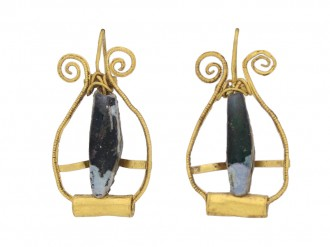 front view Ancient Roman gold earrings berganza hatton garden