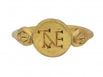 front view Western Byzantine gold monogram ring berganza hatton garden