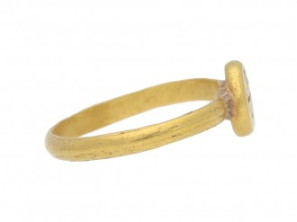 front view Byzantine gold engraved cross ring berganza hatton garden