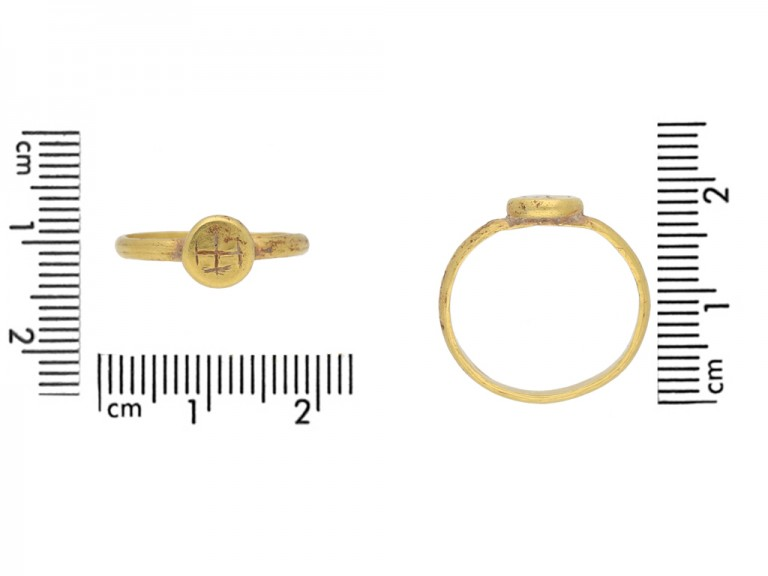 Byzantine gold engraved cross ring berganza hatton garden