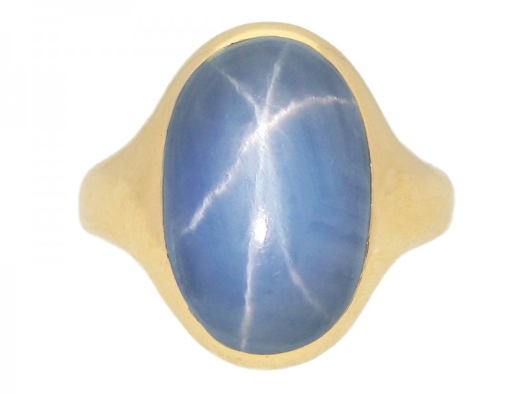 front view Antique star sapphire ring berganza hatton garden