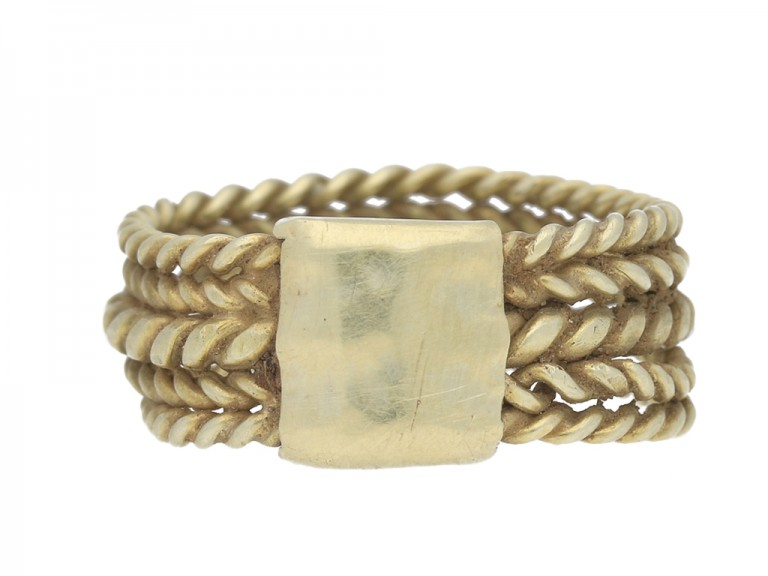 front view Saxon five bar braided ring berganza hatton garden