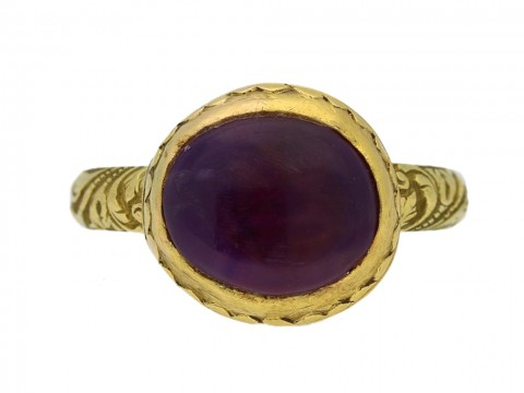 front view Tudor amethyst ring, circa 16th 17th century.