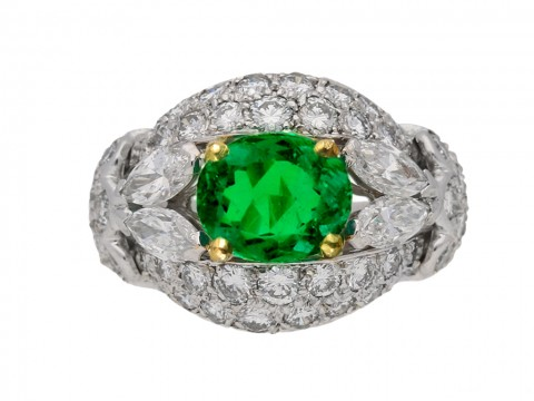 front view Emerald and diamond cluster ring by Cartier Paris,circa 1970 hatton garden berganza