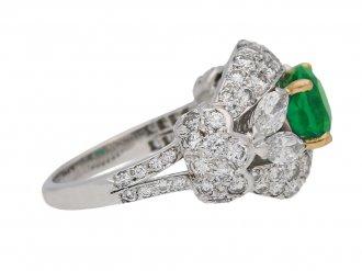 front view Emerald and diamond cluster ring by Cartier Paris,circa 1970 hatton garden berganza
