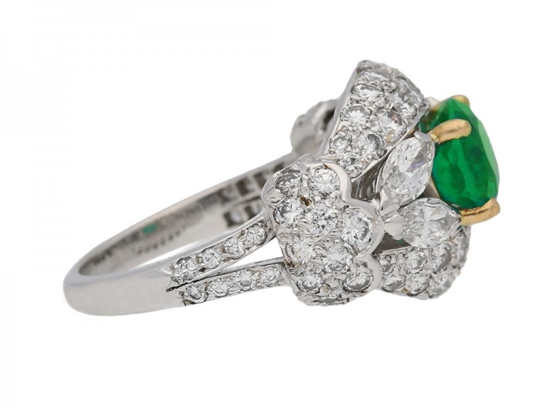 side view Emerald and diamond cluster ring by Cartier Paris,circa 1970 hatton garden berganza